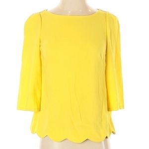 Ann Taylor XL Yellow 3/4 Sleeves Blouse Top
